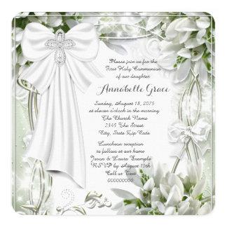 Première communion florale blanche carton d'invitation  13,33 cm