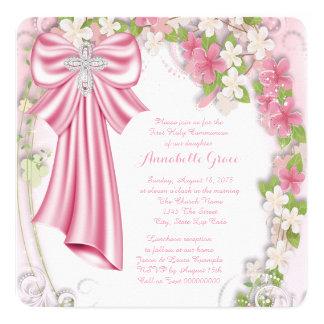 Première communion florale croisée rose carton d'invitation  13,33 cm