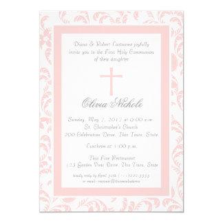 Première communion florale rose douce de Paisley Carton D'invitation 12,7 Cm X 17,78 Cm
