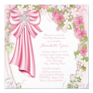 Première communion florale rose carton d'invitation  13,33 cm