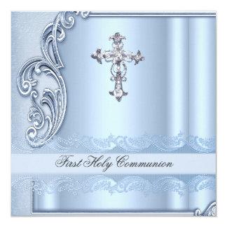 Première confirmation de bleu de sainte communion carton d'invitation  13,33 cm