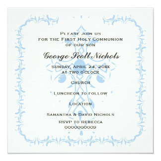 Première confirmation de communion de croix bleue carton d'invitation  13,33 cm