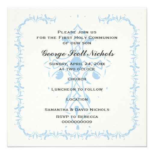Première confirmation de communion de croix bleue invitations