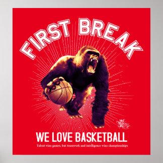Première coupure, basket-ball d'amour, gorille posters