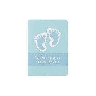 Première coutume de bleu d'empreintes de pas de protège-passeports