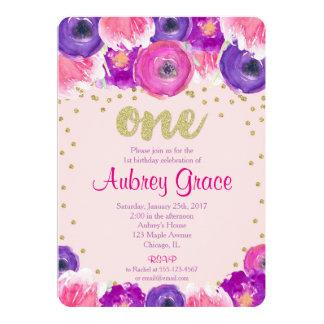 Première fille d'invitation d'anniversaire, or carton d'invitation  12,7 cm x 17,78 cm
