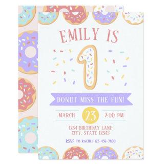 Première invitation d'anniversaire de beignet