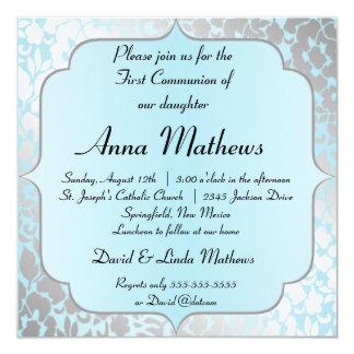 Première invitation de communion de bleu