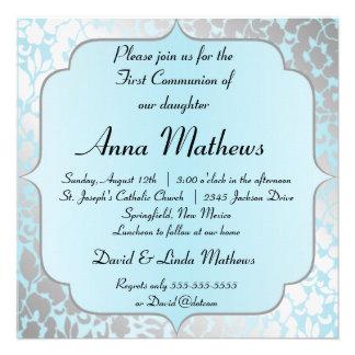Première invitation de communion de bleu métalliqu