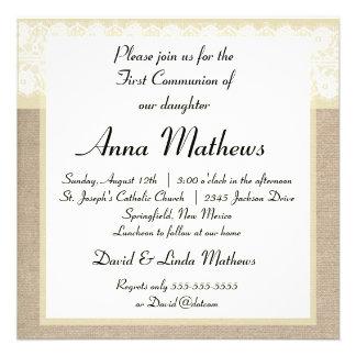Première invitation de communion de toile de jute
