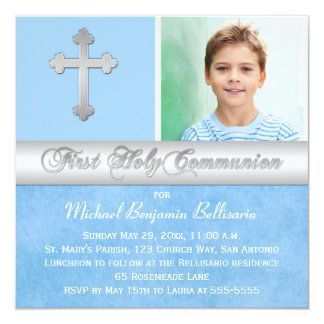 Première invitation de photo de sainte communion