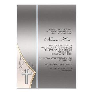 Première invitation élégante de communion d'argent