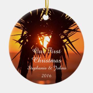 Première joie de paix d'amour de Noël pour Ornement Rond En Céramique