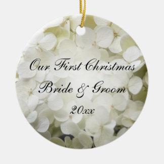 Première photo de Noël d'hortensia blanc Ornement Rond En Céramique