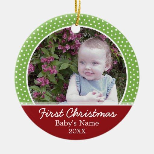 Première photo de Noël du bébé - à simple face Décoration Pour Sapin De Noël