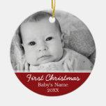 Première photo de Noël du bébé - à simple face Ornement Rond En Céramique