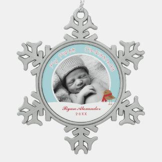 Première photo de Noël du bébé Ornement Flocon De Neige Pewter