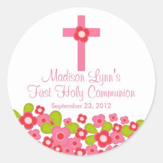 Première sainte communion florale rose croisée sticker rond