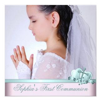 Premières invitations de communion de photo bleue
