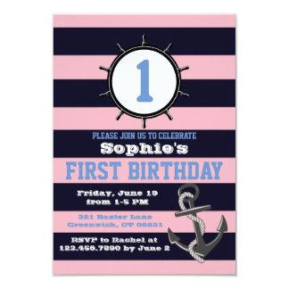 Premières invitations Pink&Blue d'anniversaire de