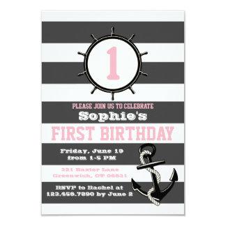 Premières invitations Pink&Grey d'anniversaire de