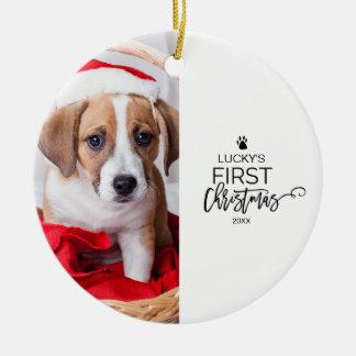 Premières vacances de photo de Noël de l'animal Ornement Rond En Céramique