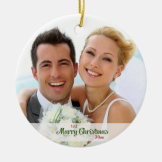 Premiers de Noël nouveaux mariés ensemble Ornement Rond En Céramique