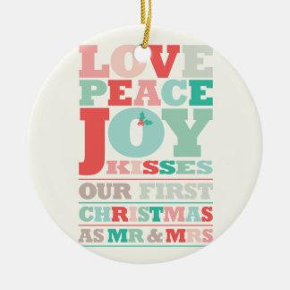 Premiers M. et Mme Holiday Photo Ornament de Noël Ornement Rond En Céramique