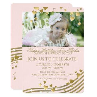 Premiers musique et coeurs d'anniversaire carton d'invitation  12,7 cm x 17,78 cm