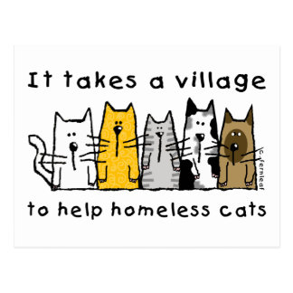 Prend à un sans-abri d'aide de village des chats cartes postales