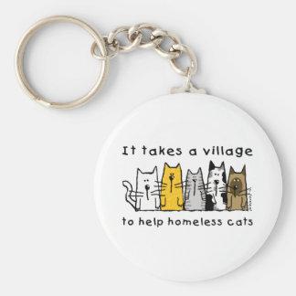Prend à un sans-abri d'aide de village des chats porte-clés