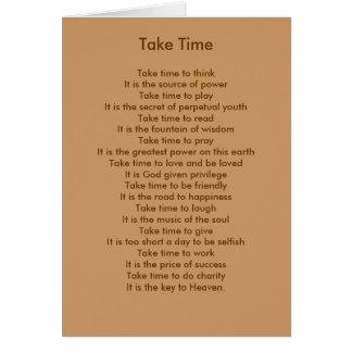 Prenez du temps de penser carte de vœux