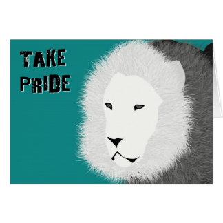 Prenez la carte de note de fierté - lion dans Teal