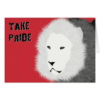 Prenez la carte de note de fierté - lion en rouge