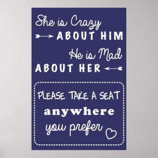 Prenez un signe de mariage de siège poster