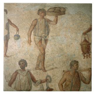 Préparations pour un banquet, fragment de marbre,  grand carreau carré