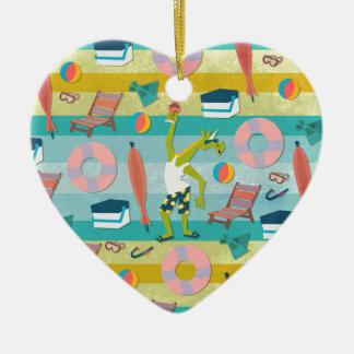 Préparez pour l'été de licorne ornement cœur en céramique