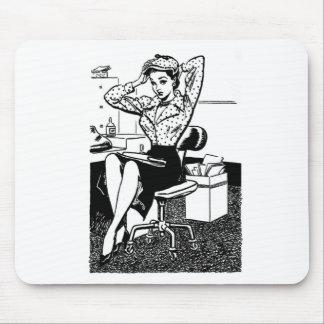 Préposée de bureau vintage de Pin- de bande dessin Tapis De Souris