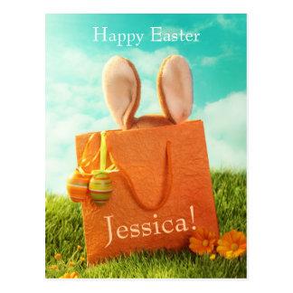 Présent de Pâques avec le lapin et les oeufs de Carte Postale