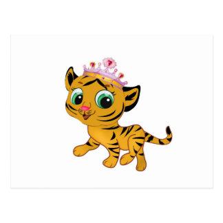 Présent mignon de princesse Tiger Tigress Tiara Cartes Postales