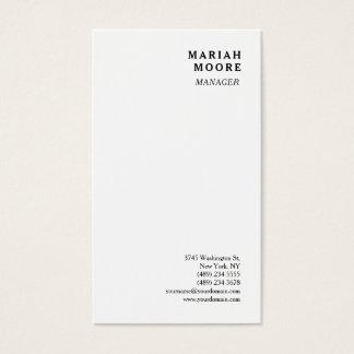 Présentation personnelle minimaliste blanche cartes de visite