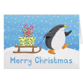 présents de pingouin carte de vœux