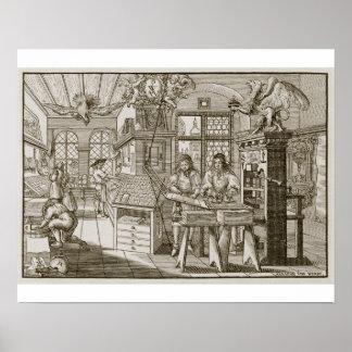 Presse typographique allemande médiévale (gravure) posters