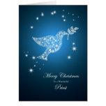 Prêtre, colombe de carte de Noël de paix