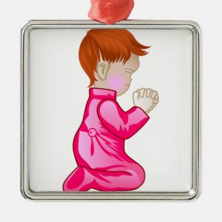 Prière de petite fille ornement carré argenté