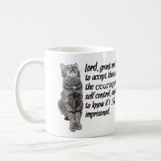 Prière drôle de sérénité avec des chats mug
