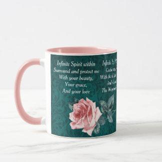 Prière du matin rose et turquoise mug