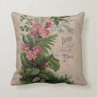 Prière florale vintage je suivrai Thee Coussins Carrés