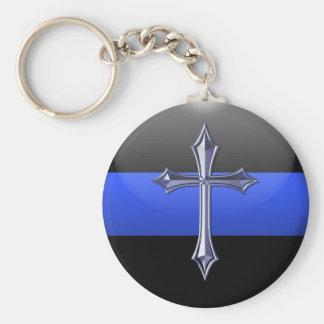 Prière mince de Blue Line pour la sécurité Porte-clés