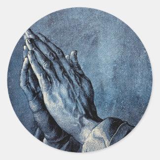 Prière pliée de mains - Durer Sticker Rond